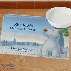 Personalised The Snowdog Pet Placemat Snowman And The Snowdog, Secret Santa Gifts, Pet Bowls, Christmas Themes, Messages, Pets, Placemat, Ornaments, Animals And Pets