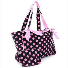 Diaper Bags  - Pin it :-) Follow us .. CLICK IMAGE TWICE for our BEST PRICING ... SEE A LARGER SELECTION of  Diaper Bags at  http://zbabybaby.com/category/baby-categories/baby-diapering/baby-diaper-bags/  - gift ideas, baby , baby shower gift ideas, kids  -   Designer Inspired Quilted Polka Dot Diaper Handbag w/ Bow Accents Black/Pink « zBabyBaby.com