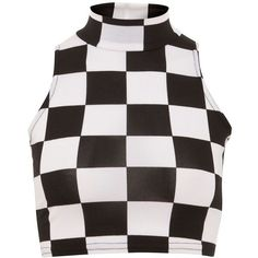 Parisian Monochrome Check Print High Neck Crop Top (17 BRL) ❤ liked on Polyvore featuring tops, shirts, crop top, cropped shirts, checkered crop top, party crop tops and night out tops