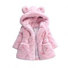Toddler Girls Kids Faux Fur Teddy Bear Jacket Winter Thick Fleece Coat Outdoor