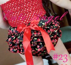 Cute Princess Black and Red cherry Print Ruffled by fashionfixes4u, $9.95