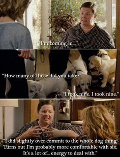 Hahah I am obsessed with this movie, and the part when she drove by in the mini van with all of the puppies