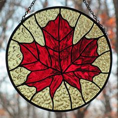 Stained Glass Red Maple Leaf Suncatcher by LivingGlassArt on Etsy,
