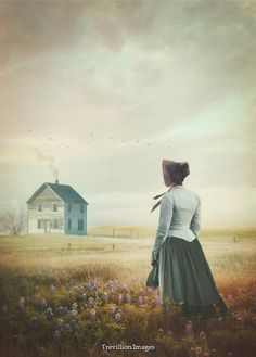 Sandra Cunningham victorian woman by house in field of flowers Women