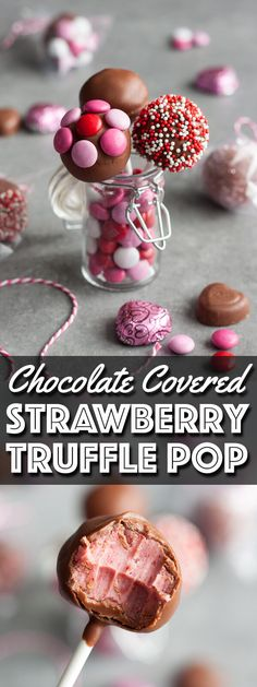 Individually wrapped Chocolate Covered Strawberry Truffle Pop is perfect for Valentine's Day gifting.   wildwildwhisk.com #SendSweetness #CollectiveBias #ad @walmart @mmschocolate @dovechocolateUS