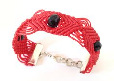 Macramè bracelet red bracelet macramè cuff by morenamacrame