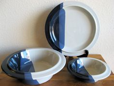 Fabrik Stoneware Plate and Bowl Set-3 Pieces by MarketHome on Etsy, $64.00