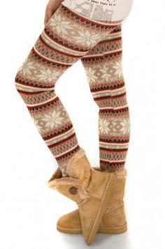 Chick Rebelle- Wunderschöne Strickleggings im Norweger-Style mit Schneeflocke-Muster.