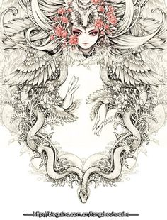 越南——Merinx的手绘线稿插画作品@雀斑Mini采集到古风插画(131图)_花瓣插画/漫画