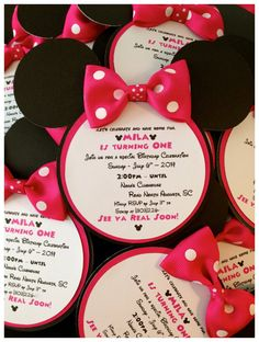 Set of 10 - Minnie Mouse Inspired Birthday Invitations in Pink & Black with or without WEARABLE bows! Set of 10 - Minnie Mouse Inspired Birthday Invitations in Pink & Black with or without WEARABLE bows! Minnie Mouse Birthday Invitations, Minnie Mouse First Birthday, Minnie Mouse Baby Shower, Minnie Mouse Party, 2nd Birthday, Party Invitations Kids, Mickey Birthday, Shower Invitations, Mickey Party