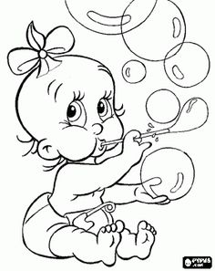 Baby girl playing to make bubbles coloring page - bjl
