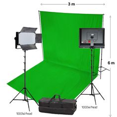 #photography studio green lighting with background shoot