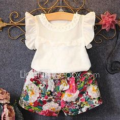 Girls' Casual/Daily Print Sets,Cotton Polyester Summer Short Sleeve Clothing Set Floral Ruffle White 2017 - $7.49