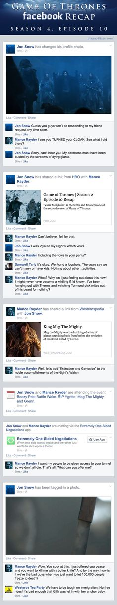 """If Game of Thrones took place entirely on Facebook - The Season 4 Finale."" I died laughing. This is so great!"