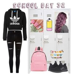 """School day 32"" by paraskevi1911 ❤ liked on Polyvore featuring adidas Originals, River Island and adidas"