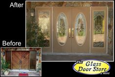 Replace the old wood doors with oversized sidelights. Oval inserts with full size side windows was the best solution for this awkward size opening http://glassdoorstampa.com/new-exterior-front-doors-update-front-entryways/