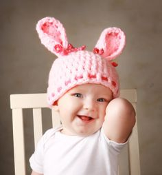 baby hats for girls   Baby Hats Bunny Hat Pink Bunny Hat Baby Girl Cap Newborn Clothes ...