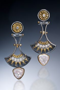 Earrings: 22k, 18k, oxidized sterling and fine silvers, white sapphires, seed pearls, white druzy quartz