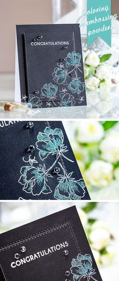 """Use embossing powders instead of inks to """"color"""" color layering stamp images. Stamps - Peony Bouquet by Altenew, embossing powders by WOW."""