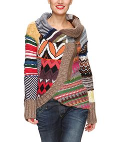 Brown Patchwork Tulip Hem Wool-Blend Sweater - Women