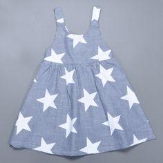 Retail Ins Summer Baby Girl Dress Fashion Star Pattern Striped Princess Dress Lovely Toddler Girl Birthday Dress Brand Clothing