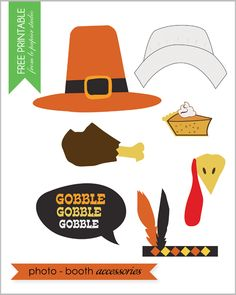 Free printable #thanksgiving #photo props by @Vanessa Samurio Samurio Bird of Le Papier Studio for #thepartydressmagazine