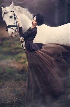 White horse | Billowing dress | beautiful woman