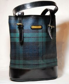 ca609ea5195e Vintage Classic Polo Ralph Lauren Blackwatch Plaid tartan Leather Tote Purse  With Adjustable Strap