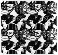 M.C. Escher – Eight Heads. 1922 Woodcut printed once from the whole block and eight times from different parts. 340mm x 325mm