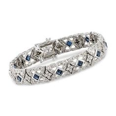 http://www.ross-simons.com/products/681662.html    C. 1990 Vintage 4.75 ct. t.w. Sapphire and 2.10 ct. t.w. Diamond Bracelet In 18kt White Gold. 7""
