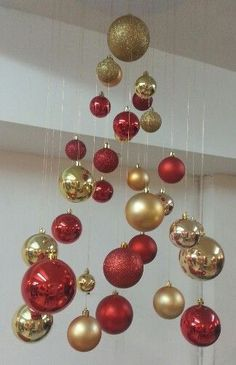 Easy and Affordable Homemade Christmas Decorations – Invisible Christmas Trees- Learn how to make these hanging Christmas trees for easy and affordable holiday decor These are also super fun Christmas crafts kids will love to make Office Christmas Decorations, Hanging Christmas Tree, Homemade Christmas Decorations, Christmas Tree Toppers, Christmas Crafts For Kids, Simple Christmas, Christmas Wreaths, Holiday Decor, Holiday Crafts