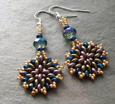Beading Tutorial Twin Bead Earrings pattern door VCArtisanOriginals