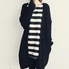 Cheapest Cardigans Korean Style Solid Color Long Sleeves Cardigans Black
