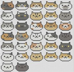 Neko Atsume All Cats Cross Stitch by Erica Kimberly - Craftsy