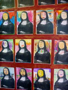 5 year old children drawing their interpretations of Mona Lisa. Elementary Art Rooms, Art Lessons Elementary, Art Lessons For Kids, Artists For Kids, Mona Lisa Facts, Italy For Kids, Classroom Art Projects, Atelier D Art, Renaissance