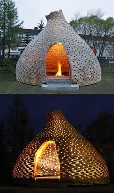 Outdoor fireplace enclosure: