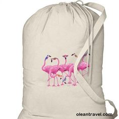Flamingos in Sunglasses New Cotton Laundry Bag Travel Camp Beach Gifts - http://oleantravel.com/flamingos-in-sunglasses-new-cotton-laundry-bag-travel-camp-beach-gifts