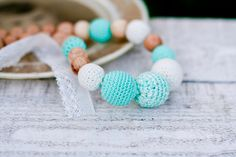 Crochet organic cotton Nursing necklace romantic by kangarusha