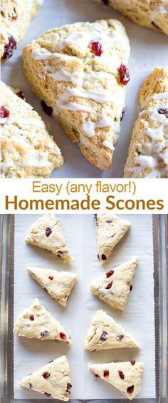 Start with our soft and flaky Homemade Scones recipe and add your favorite mix-ins.  Then drizzle a simple powdered sugar glaze on top and bask in pastry scone heaven. #scones #easy #healthy #blueberry #recipe #classic #tastesbetterfromscratch via @betrfromscratch