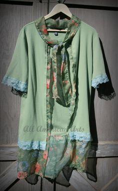 Upcycled, Eco Friendly, Refashioned, Repurposed, Ladies Short Sleeve Lightweight Cardigan/Tunic