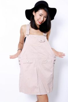 What about a Nude beige / pink dungaree style dress? #Dungaree #vintagedress # 80sdress | View more: www.ezzentrictopz.com