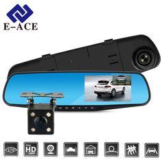 E-ACE Full HD 1080P Car Dvr Camera Auto 4.3 Inch Rearview Mirror Digital Video Recorder Dual Lens Registratory Camcorder  Price: 39.99 USD
