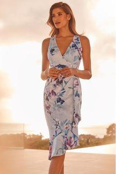 Lipsy VIP Helena Print Wrap Frill Midi Dress
