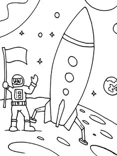 Rockets Ship And Astronaut Landing On The Moon Coloring Page