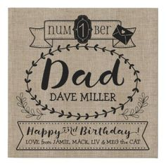 Make Your Own Number 1 Dad Birthday Cute Monogram Faux Canvas Print - create your own gifts personalize cyo custom