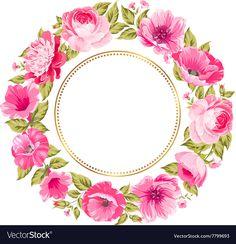 Flower garland vector image on VectorStock Flower Frame, Flower Art, Diy And Crafts, Paper Crafts, Design Floral, Borders And Frames, Flower Garlands, Floral Border, Flower Backgrounds