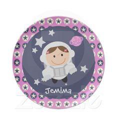 Pink and Blue Stars Spacegirl Dinner Plate. By CelebrationBazaar.