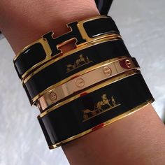 everything Hermes & Cartier - Hermes printed cuffs - Cartier Love bangle