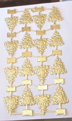 FULL SHEET GOLD FOIL EMBOSSED GERMAN DRESDEN CHRISTMAS TREE SCRAPS DIE CUTS WOW