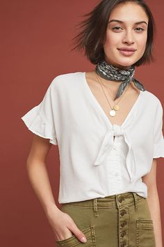 3a1de6423a0c Cloth & Stone Tie-Front Blouse | Anthropologie Tie Front Blouse, Front  Tie